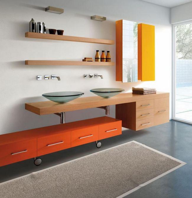 Pomarańczowa aranżacja łazienkowa LASA IDEA