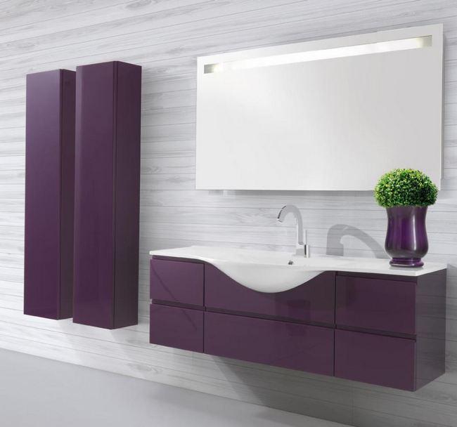 Fioletowa aranżacja łazienkowa LASA IDEA