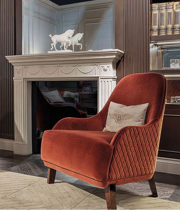 Tapicerowany fotel przed kominek Bentley