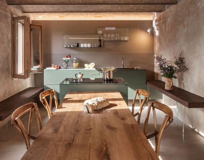 Modernistyczna kuchnia Lago zaaranżowana w rustykalnych wnętrzach