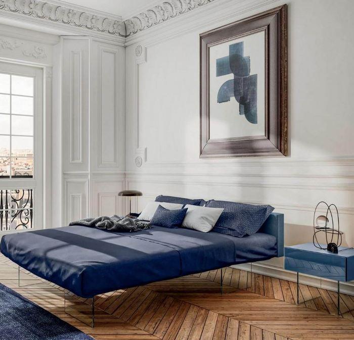 Nowoczesna sypialnia z łóżkiem na transparentnych nogach Lago