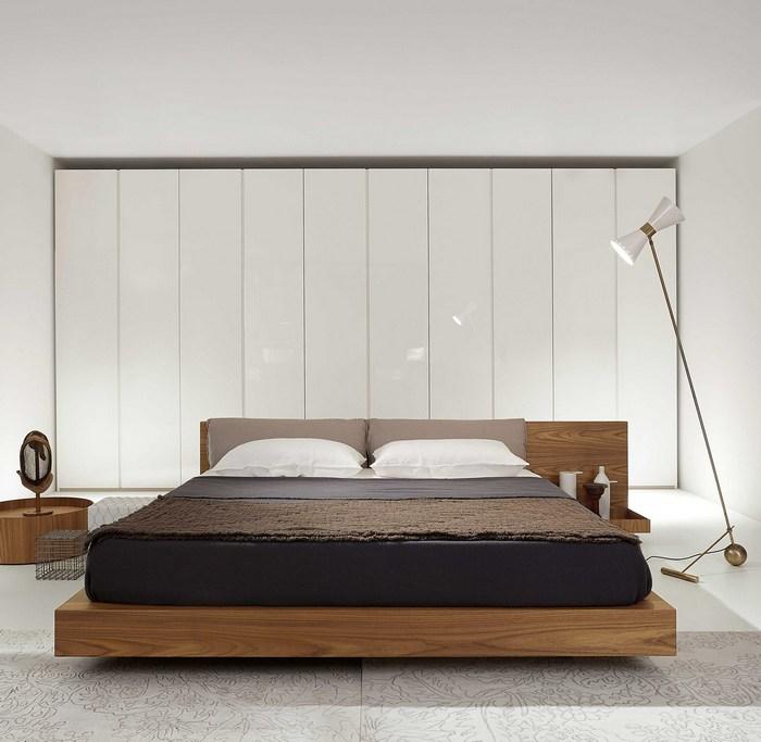 Drewniane platformowe łóżko Porro