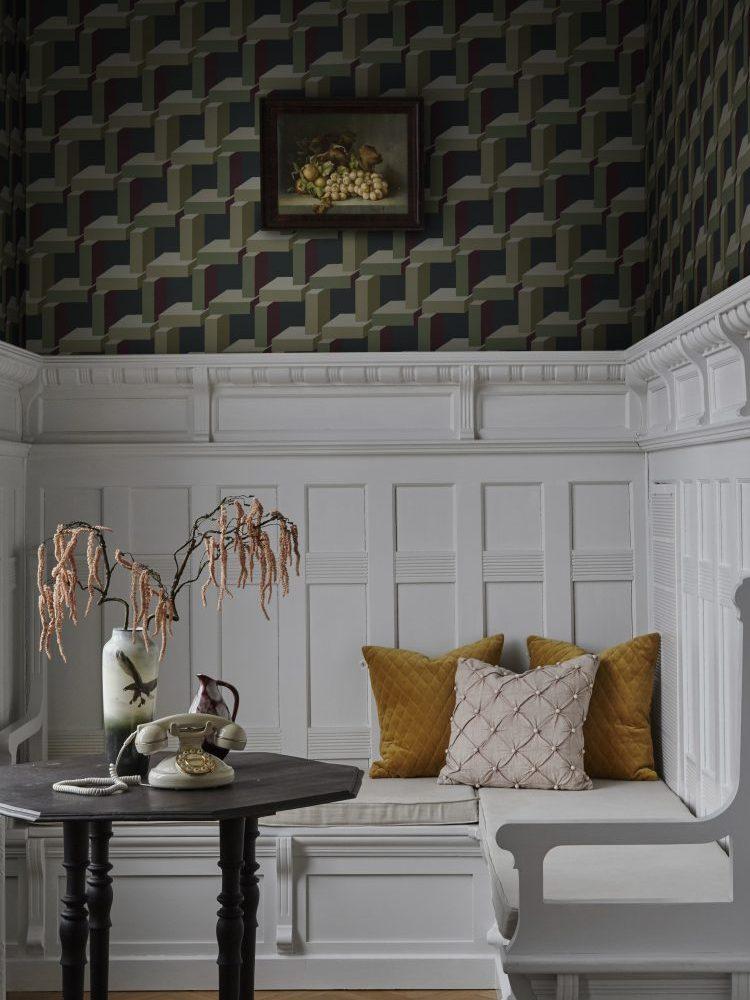 Geometryczne tapety do salonu Sandberg