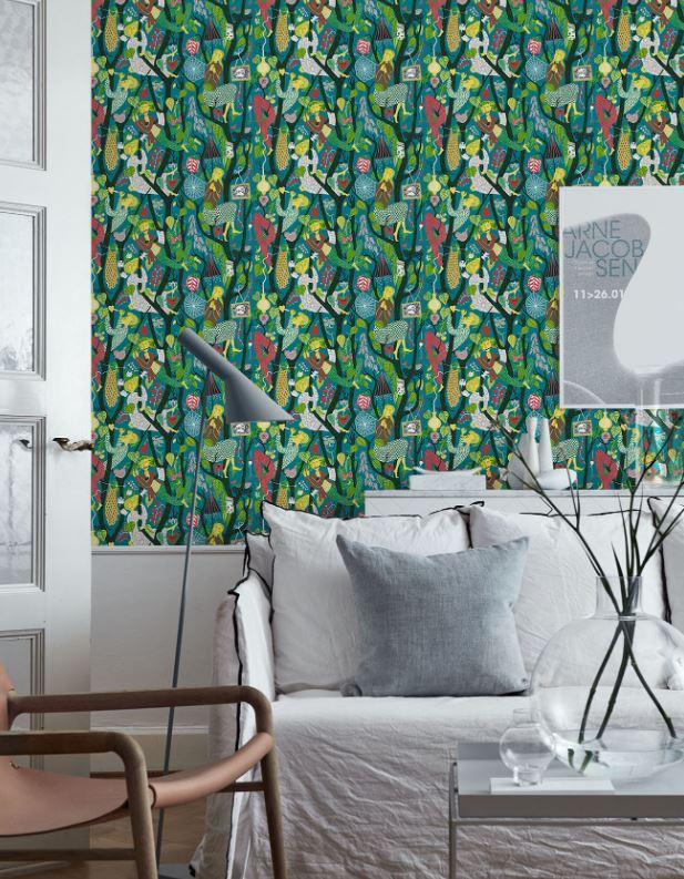Kolorowe tapety do salonu Boras Tapeter