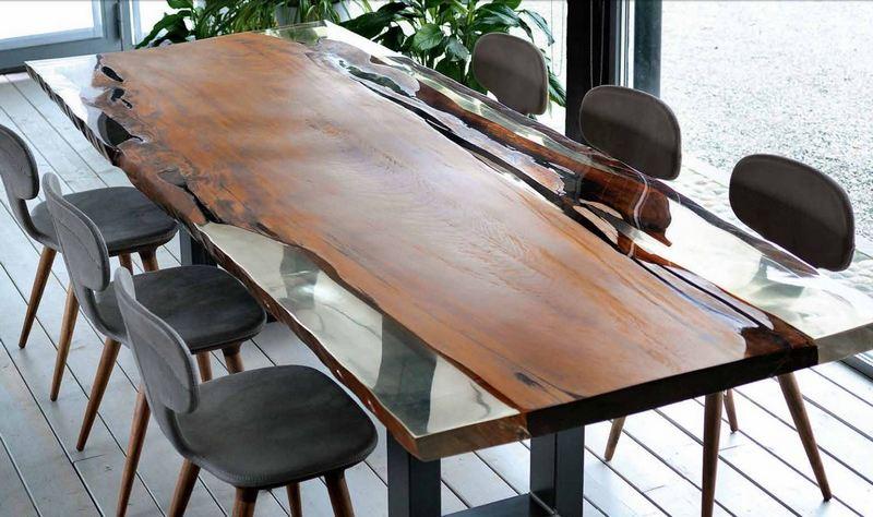 Unikatowy szklano-drewniany stół Riva 1920