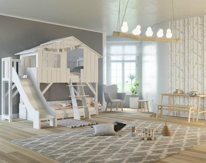 Łóżko piętrowe do pokoju dziecięcego w formie domku Mathy by Bols