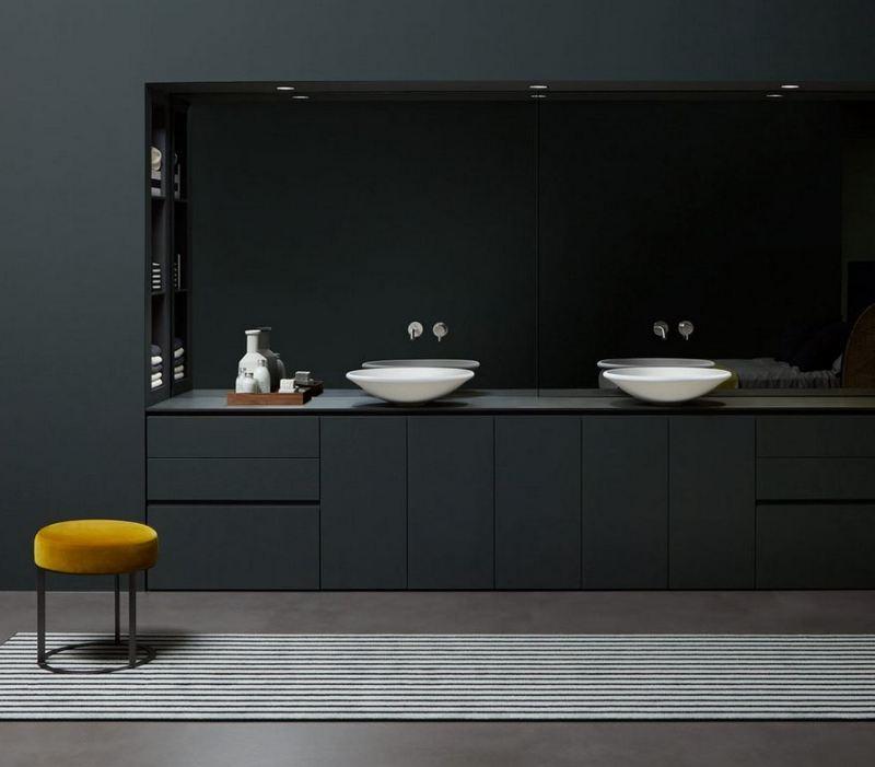 Unikalna ciemna zabudowa łazienki Antonio Lupi