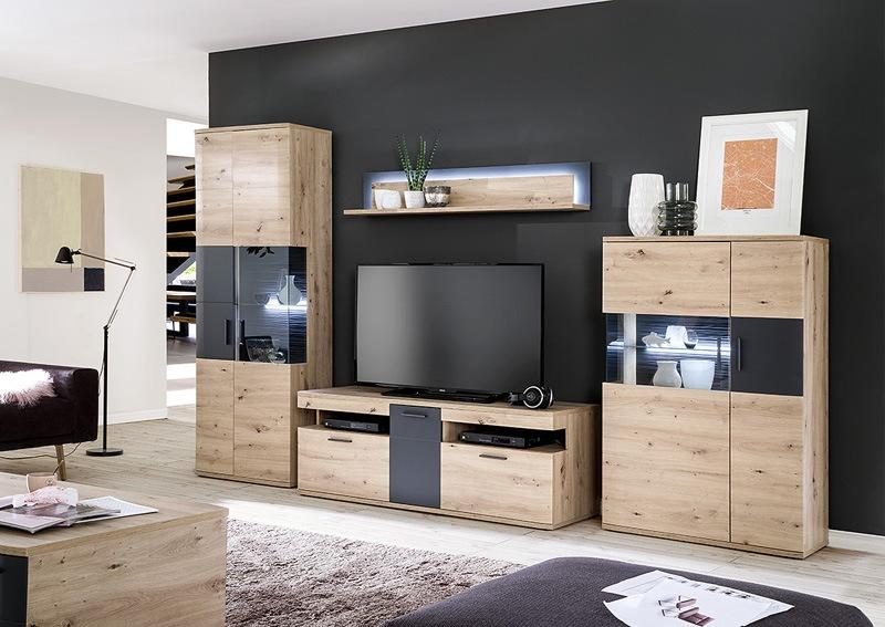 Czarno-drewniane meble pod RTV MCA Furniture