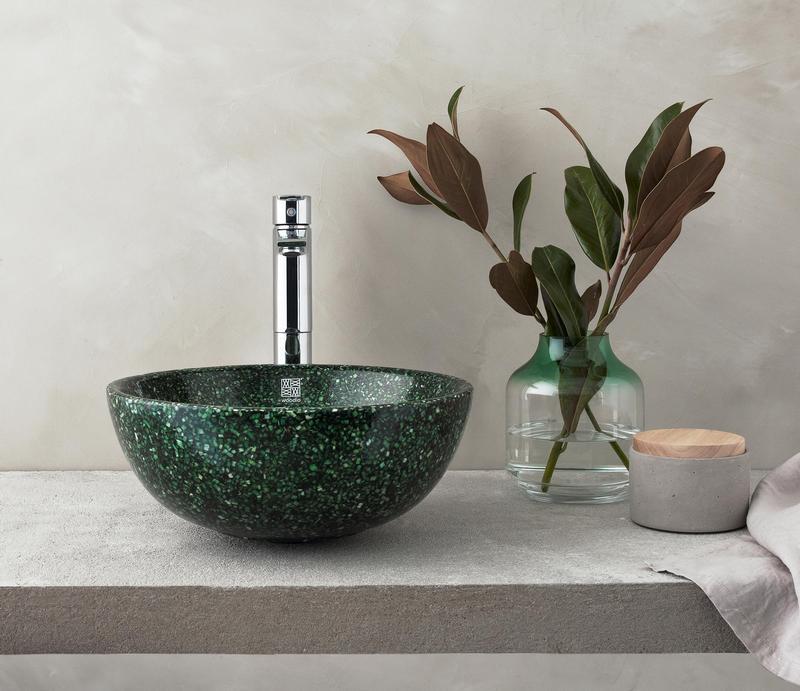 Zielona umywalka Woodio