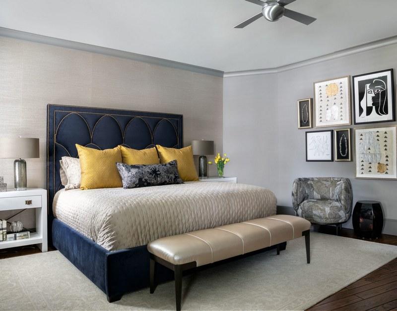 Współczesne łóżka tapicerowane; https://laurauinteriordesign.com/