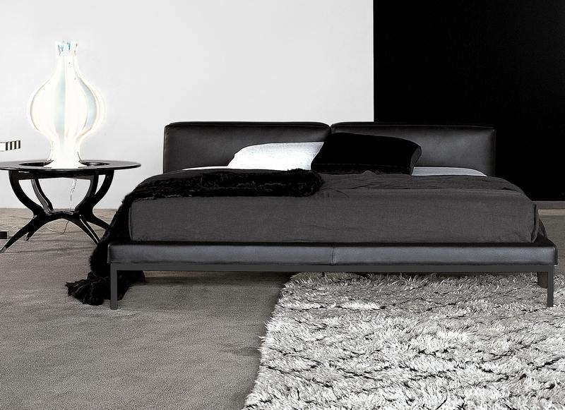 Łóżko ze skórzanym obiciem Flexteam