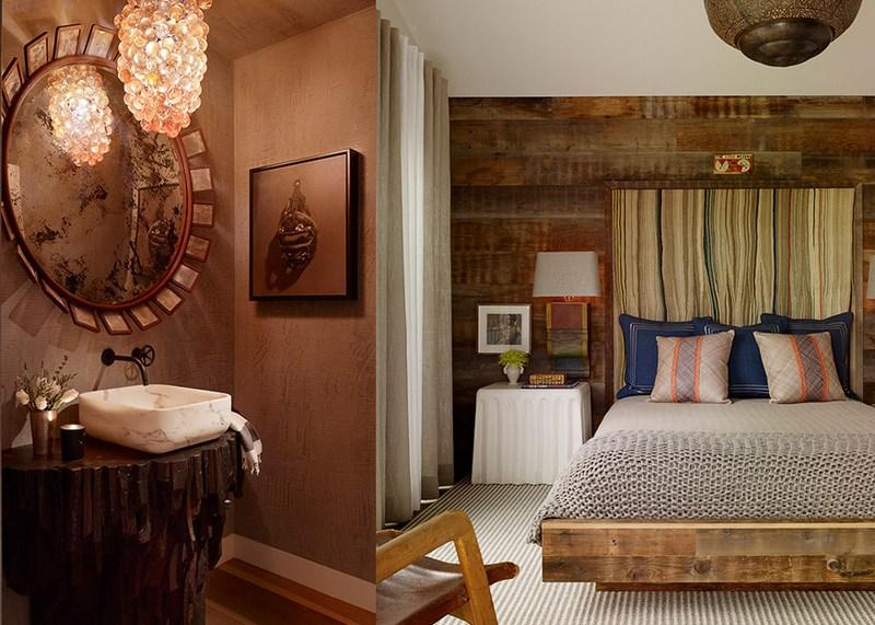 Etniczna sypialnia z łazienką Jay Jeffers
