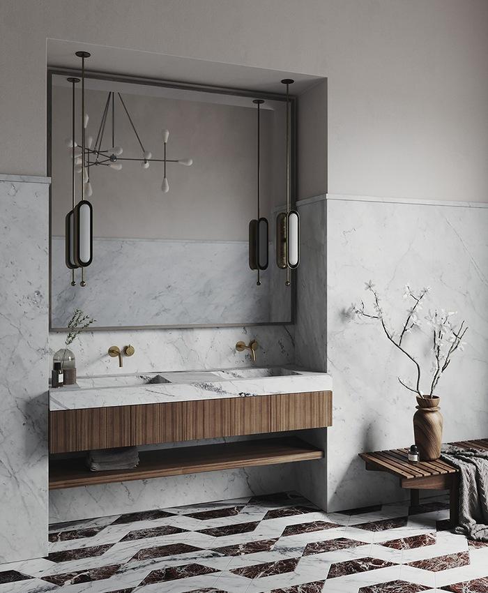 Elegancka łazienka z marmurowymi płytkami; https://vanitasstudio.com/