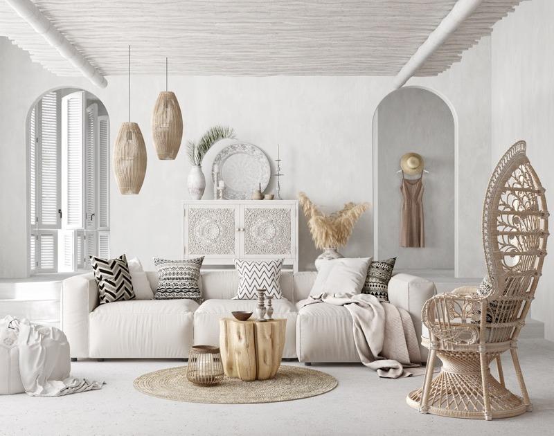 Salon w stylu etnicznym; Lilia Mukhamedshina /  http://www.home-designing.com/