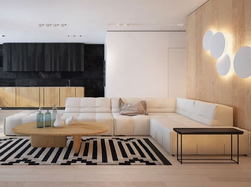 Drewno i czerń w aranżacji salonu; http://www.home-designing.com/