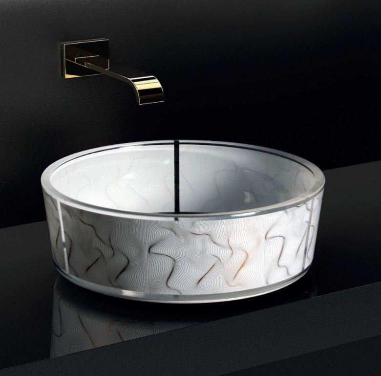 Szklana nowoczesna umywalka Vento