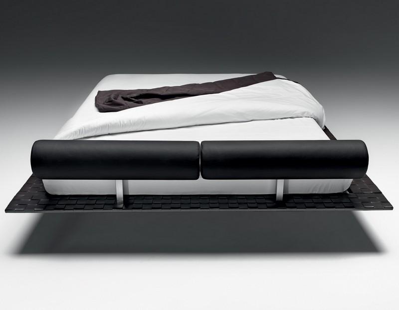 Biało-czarne łóżko platformowe Noctis